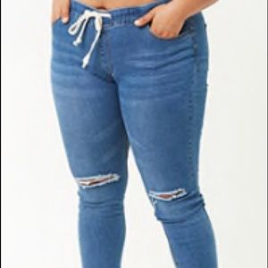 Forever 21 tie waist distressed jeans. Wore once!!